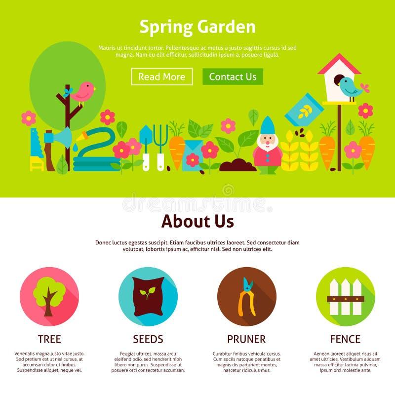 Malplaatje van het het Webontwerp van de de lentetuin het Vlakke stock illustratie