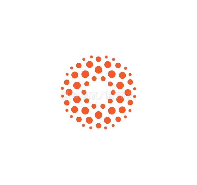 Malplaatje van het innovatie het abstracte ongebruikelijke geïsoleerde vector ronde embleem van cirkels op witte achtergrond rode stock illustratie