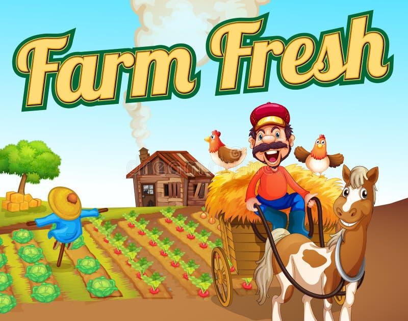Malplaatje van het landbouwbedrijf het verse landschap stock illustratie