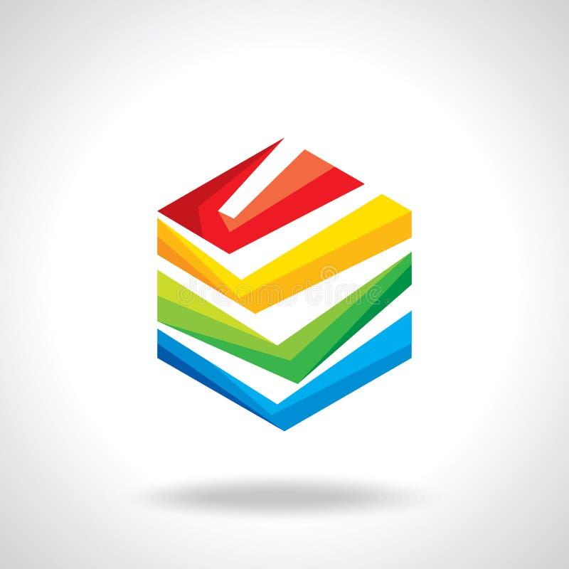 Malplaatje van het ontwerp het hexagonale vectorembleem Kleurrijke app pictogramreeks royalty-vrije illustratie