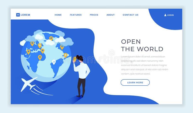 Malplaatje van het reisbureau het isometrische landingspagina Open nieuwe landen, wereldmotto, slogan op de webpagina van het toe stock illustratie