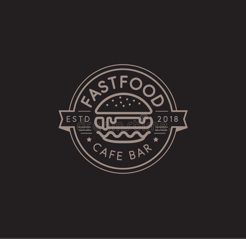 Malplaatje van het snel voedsel het vectorembleem Het hete ontwerp van de hamburger lineaire zegel hamburgerteken Het ontwerp van vector illustratie
