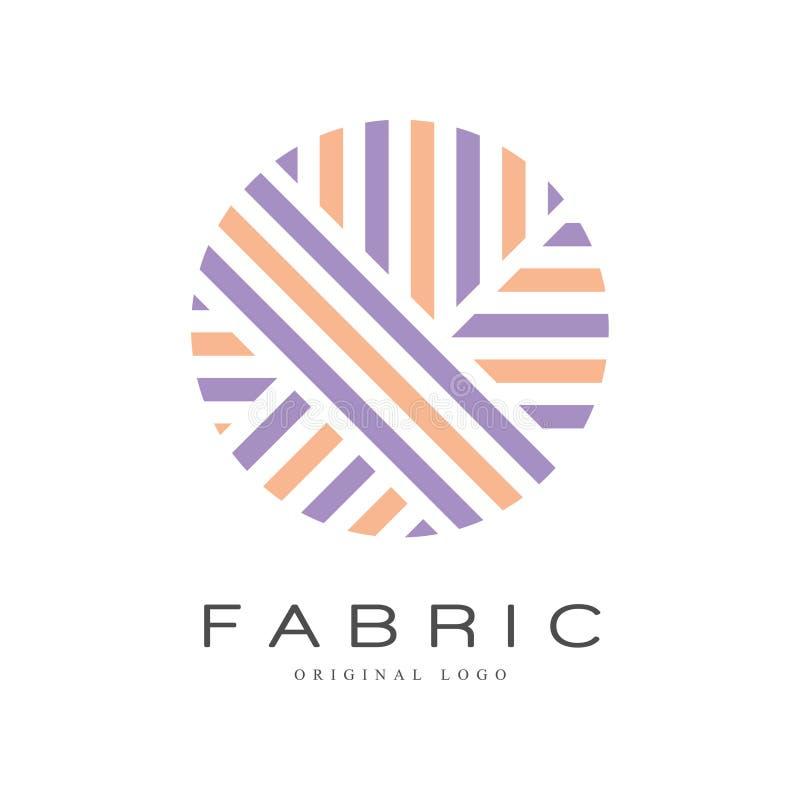 Malplaatje van het stoffen het originele embleem, creatief teken voor garenwinkel, ambachtopslag, bedrijfidentiteit, reclame, aff vector illustratie