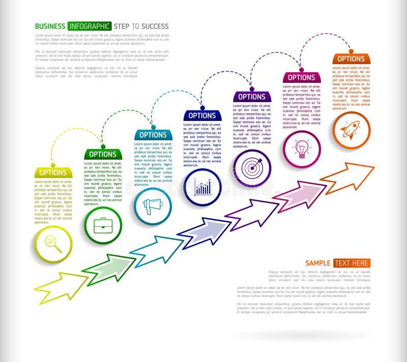 Malplaatje van het treden het infographic ontwerp met multi gekleurde successi 7 stock illustratie