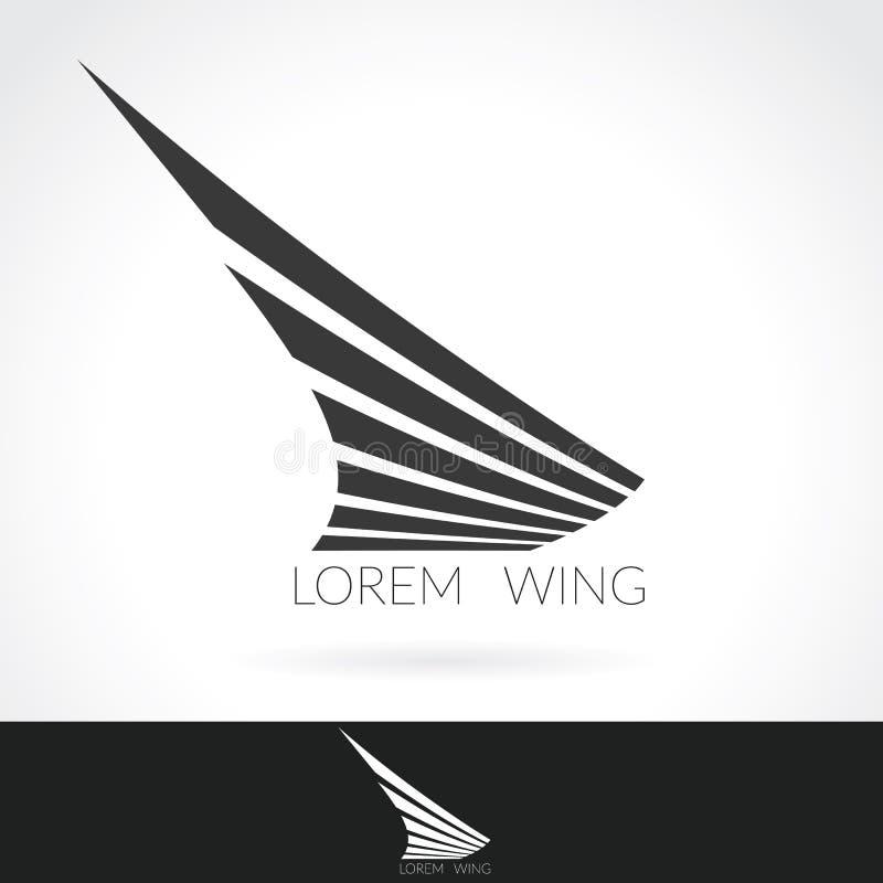 Malplaatje van het vleugel het abstracte Embleem voor vluchtbedrijf, lucht, luchtvaartlijnen logotype of embleem die verschepen vector illustratie