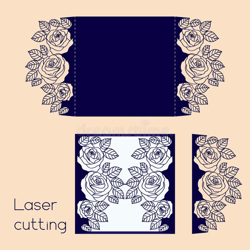 Malplaatje van huwelijksenvelop met rozen voor laserknipsel royalty-vrije illustratie