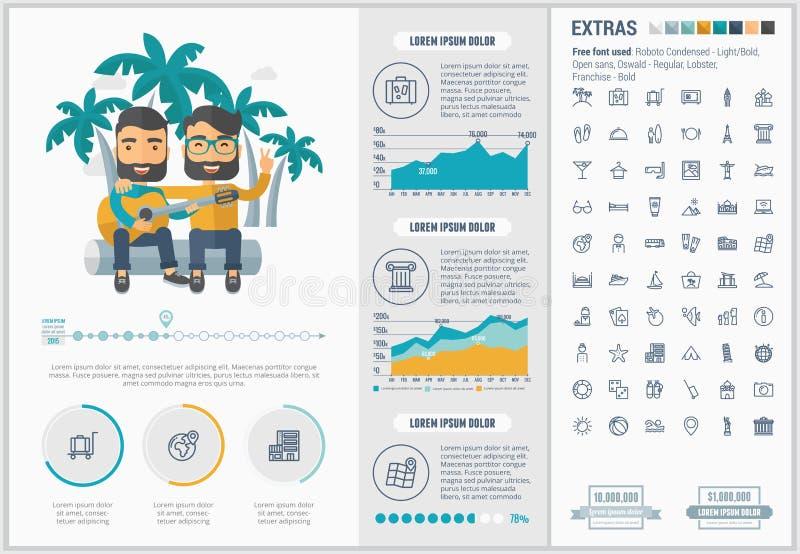 Malplaatje van Infographic van het reis het vlakke ontwerp royalty-vrije illustratie