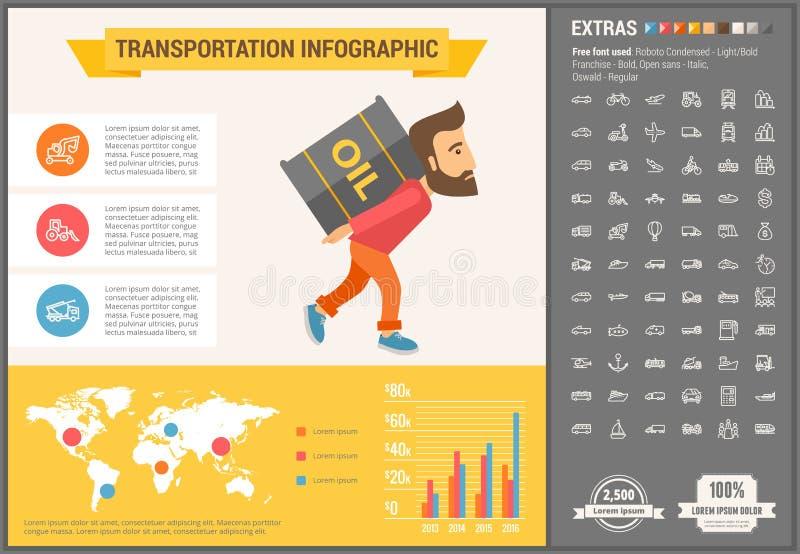 Malplaatje van Infographic van het vervoers het vlakke ontwerp stock illustratie