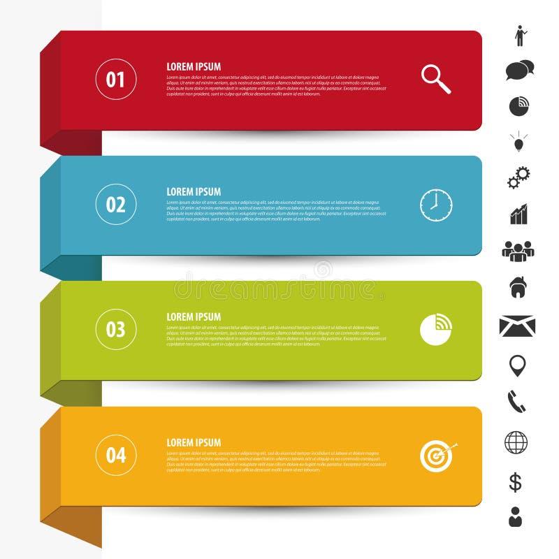 Malplaatje van ontwerp het schone banners Infographicsvector met pictogrammen stock illustratie
