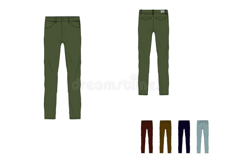 Malplaatje van ontwerp van de mensen het lange gepaste broek vector illustratie