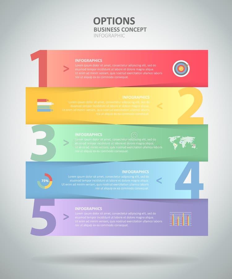 Malplaatje 5 van ontwerpinfographic stappen voor bedrijfsconcept vector illustratie