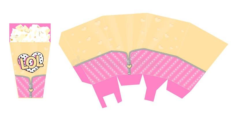 Malplaatje van popcorndoos voor partij met ritssluiting Deco voor de verrassingsthema van de verjaardagslol pop stock illustratie
