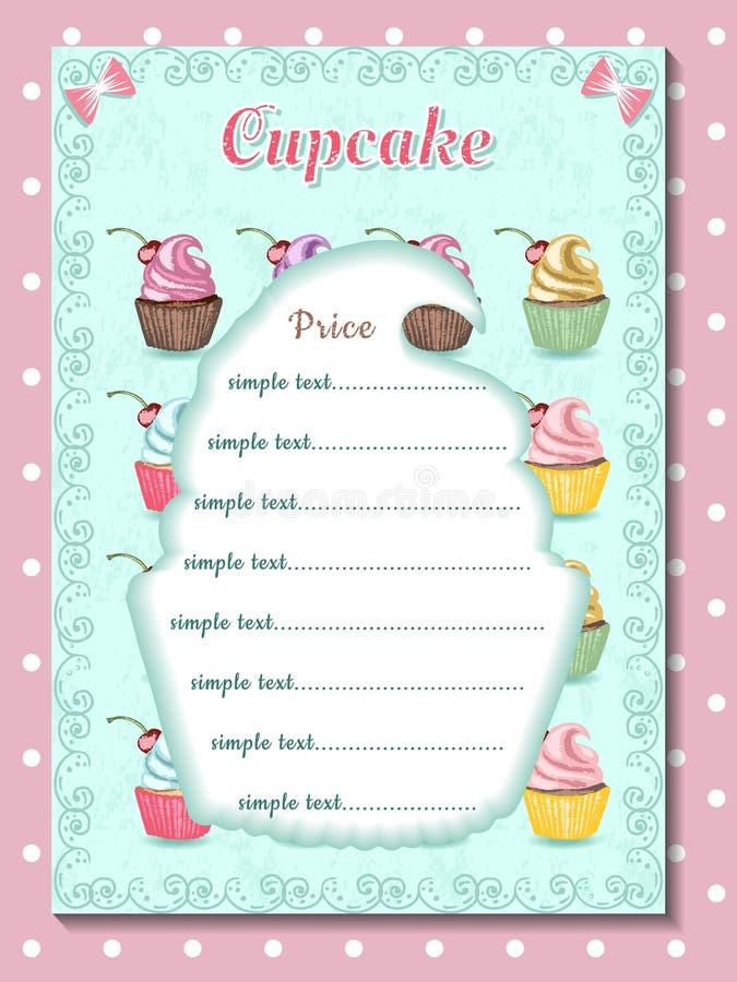 Malplaatje van prijslijst voor cupcake, ontwerp van woestijnmenu royalty-vrije stock afbeeldingen