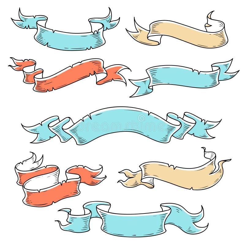 Malplaatje van uitstekende linten voor uw het van letters voorzien Hand getrokken inzameling Illustratie voor tatoegering Decorat vector illustratie