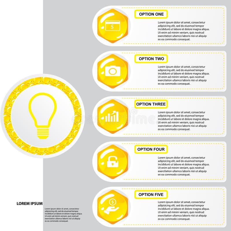 Malplaatje van van het bedrijfs bijenkorf het moderne ontwerp aantalbanners of websitelay-out Informatie-grafiek Vector royalty-vrije illustratie