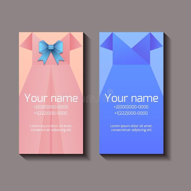 Malplaatje van verticale adreskaartjes met vrouwelijke kleding vector illustratie