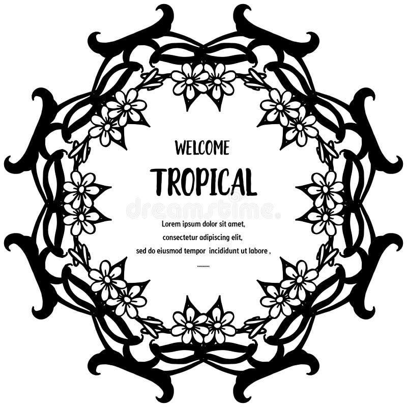 Malplaatje van welkome tropische, voor decoratiekaart, leuke en elegante bloem Vector vector illustratie