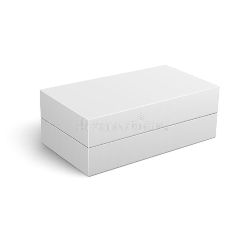 Malplaatje van witte gesloten kartondoos stock illustratie