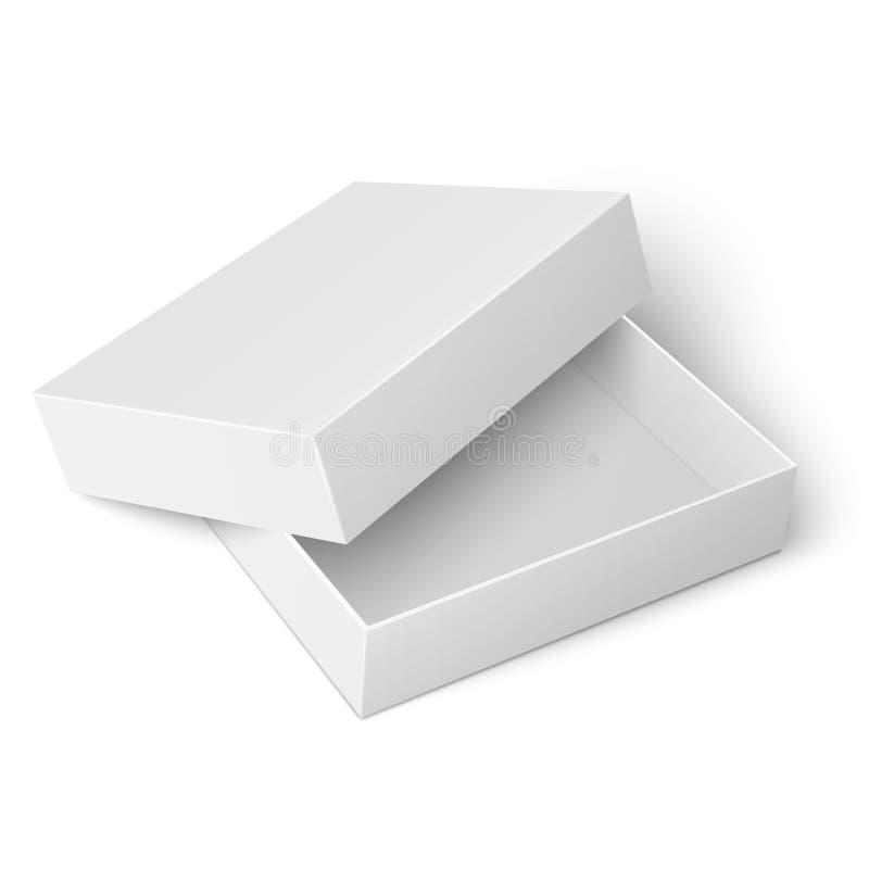 Malplaatje van witte kartondoos met geopend deksel stock illustratie