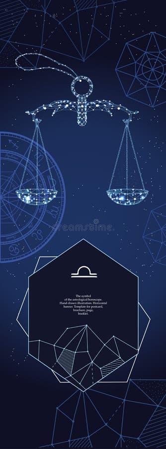 Malplaatje voor astrologische banner Het teken van de Weegschaaldierenriem stock illustratie