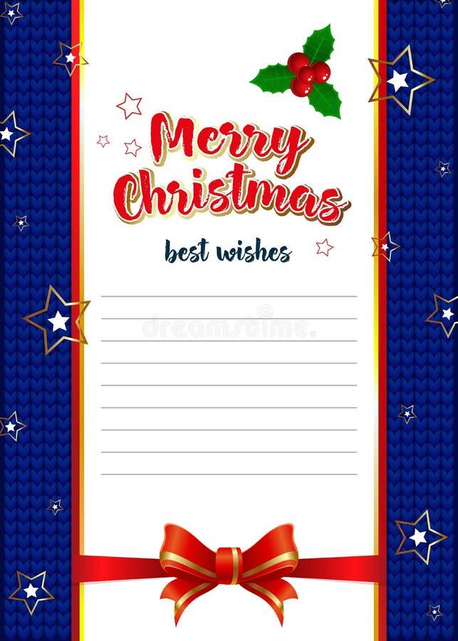 Malplaatje voor brieven met de beste wensen voor Kerstmis royalty-vrije illustratie
