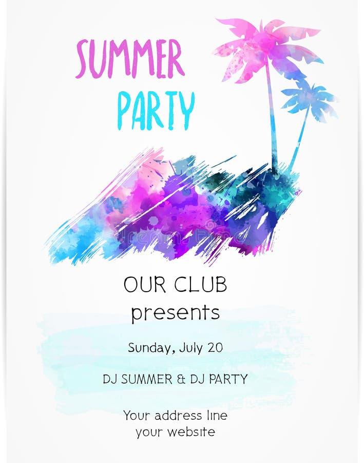 Malplaatje voor de affiche van de de zomerpartij royalty-vrije illustratie