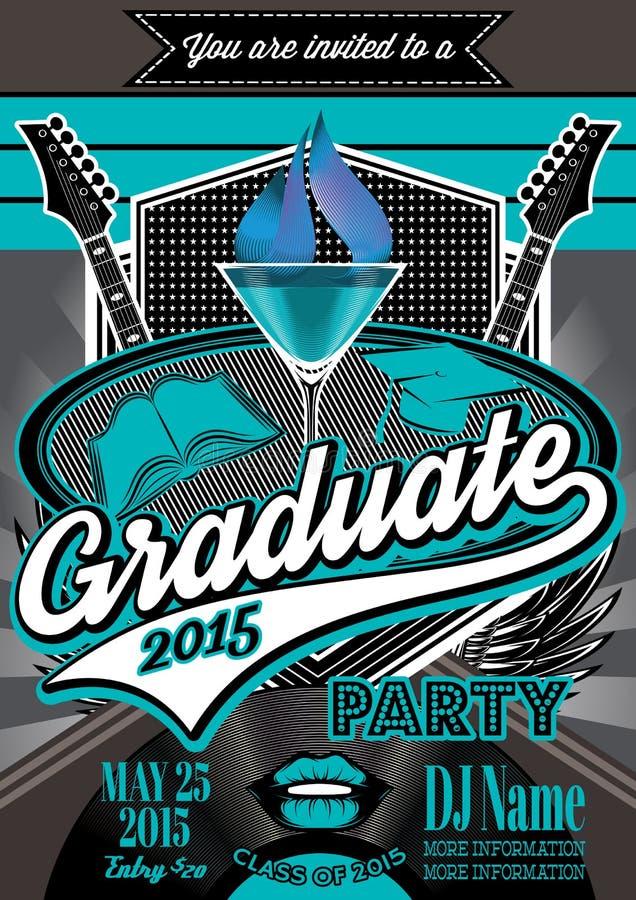 Malplaatje voor de affiches om partij een diploma te behalen stock illustratie