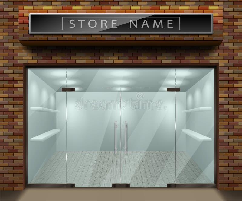 Malplaatje voor de reclame van 3d opslag voorvoorgevel met rode baksteen Buiten lege winkel of boutique met transparant venster vector illustratie