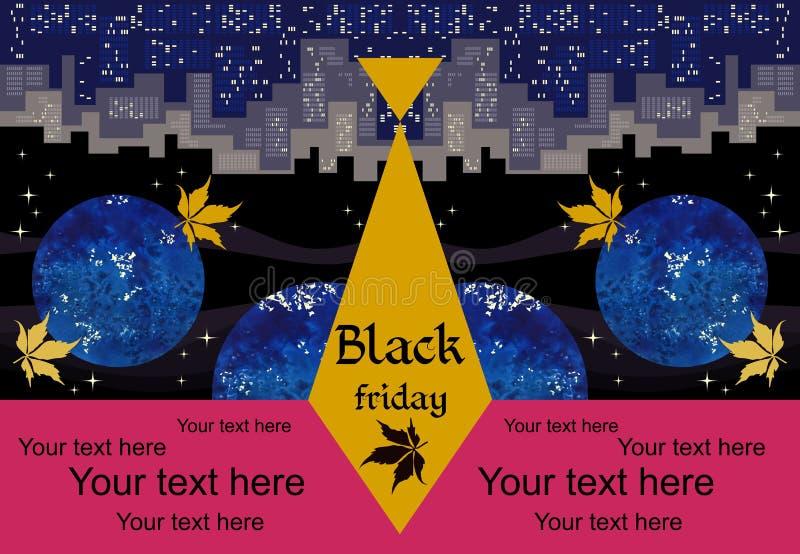 Malplaatje voor de zwarte banner van de vrijdagverkoop met omgekeerde stad en de herfstbladeren in nachtkosmos De band van gestil stock illustratie