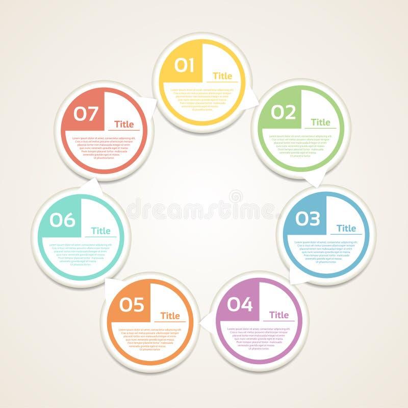 Malplaatje voor diagram, grafiek, presentatie en grafiek Bedrijfsconcept met 7 opties, delen, stappen of processen Vectorinfograp royalty-vrije illustratie
