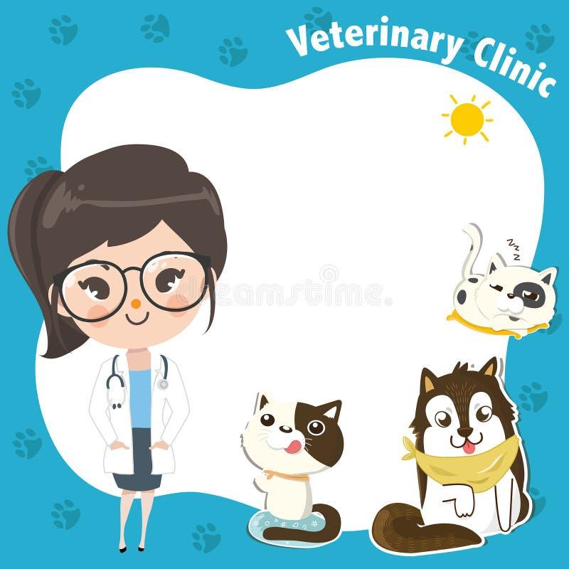 Malplaatje voor een veterinaire kliniek met een artsenmeisje en huisdieren stock illustratie