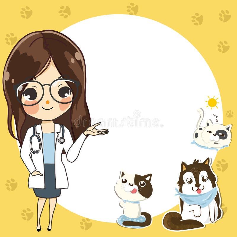 Malplaatje voor een veterinaire kliniek met een artsenmeisje royalty-vrije illustratie
