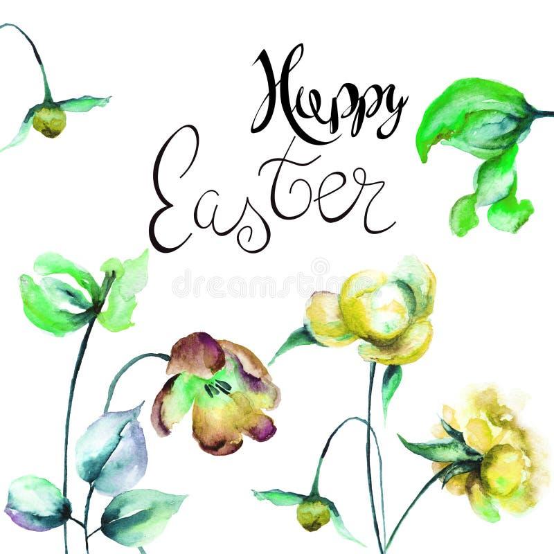 Malplaatje voor giftkaart Tulpen en Pioenbloemen met titel Happ royalty-vrije illustratie