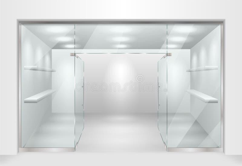 Malplaatje voor Glasshowcase of boutique opslag voorvoorgevel met venstershowcase Ontwerp van tentoonstellingstribune of leeg stock illustratie