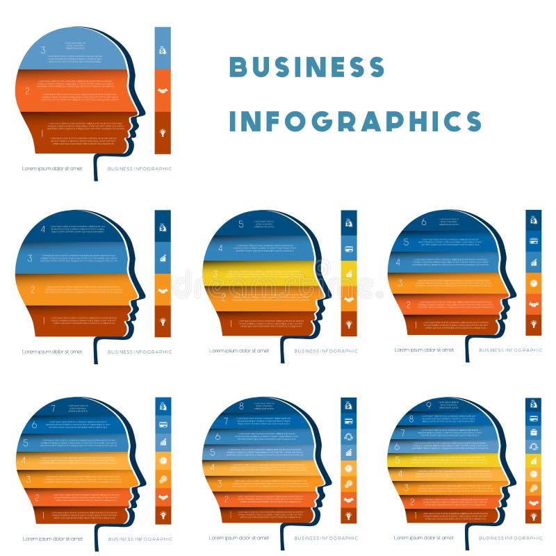Malplaatje voor infographic, hoofd van persoon van kleurenstroken reeks royalty-vrije illustratie