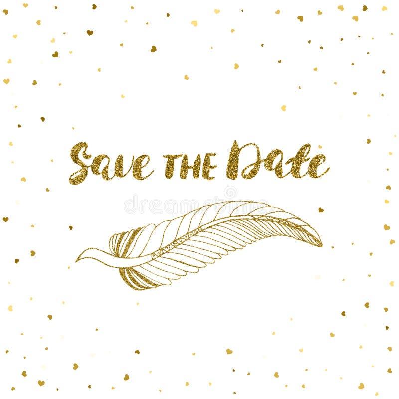 Malplaatje voor kaart, banner, vlieger, sparen de datumuitnodiging, verjaardagspartij, met gouden veer stock illustratie
