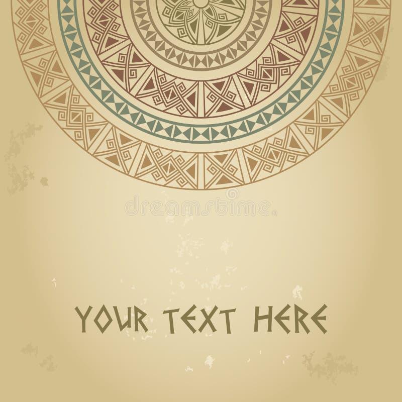 Malplaatje voor kaarten, uitnodigingen, banners met etnisch traditioneel pastelkleuren half rond patroon op grungeachtergrond vector illustratie