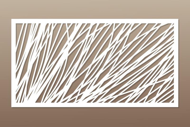 Malplaatje voor knipsel Abstracte lijn, geometrisch patroon Laserbesnoeiing Vastgestelde verhouding 1:2 Vector illustratie vector illustratie