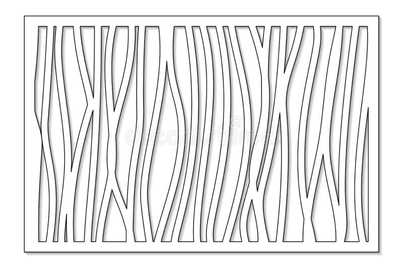 Malplaatje voor knipsel Abstracte lijn, geometrisch patroon Laserbesnoeiing Vastgestelde verhouding 2:3 Vector illustratie royalty-vrije illustratie