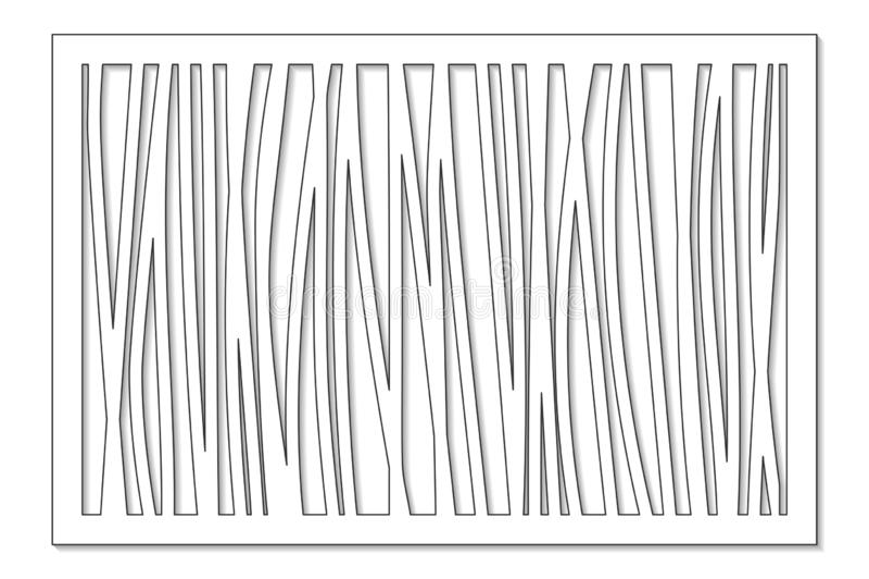 Malplaatje voor knipsel Abstracte lijn, geometrisch patroon Laserbesnoeiing Vastgestelde verhouding 2:3 Vector illustratie stock illustratie
