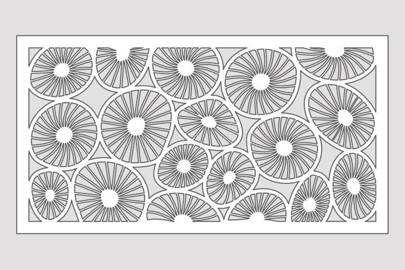 Malplaatje voor knipsel Rond kunstpatroon Laserbesnoeiing Vastgestelde verhouding 1:2 Vector illustratie vector illustratie