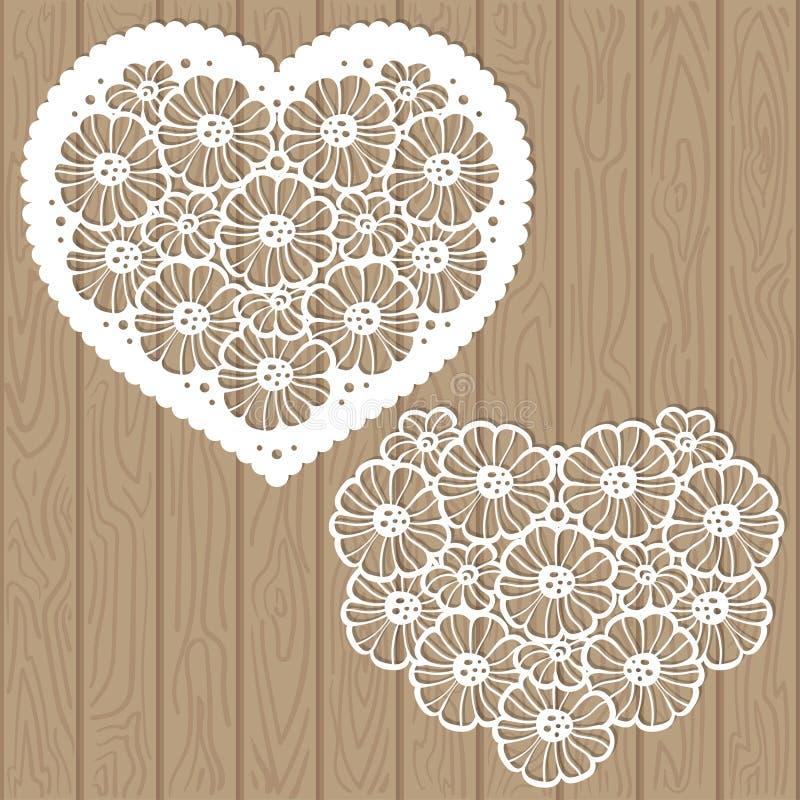 Malplaatje voor laserknipsel Hart van bloemen Vector royalty-vrije illustratie