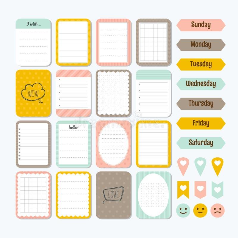 Malplaatje voor notitieboekjes Leuke ontwerpelementen Inzameling van diverse notadocumenten Vlakke stijl Nota's, etiketten, stick vector illustratie
