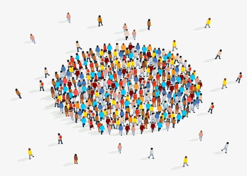 Malplaatje voor reclamefolder met mensenmenigte in vorm van cirkel stock illustratie