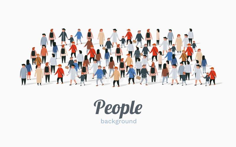 Malplaatje voor reclamefolder met mensenmenigte in vorm van rechthoek royalty-vrije illustratie