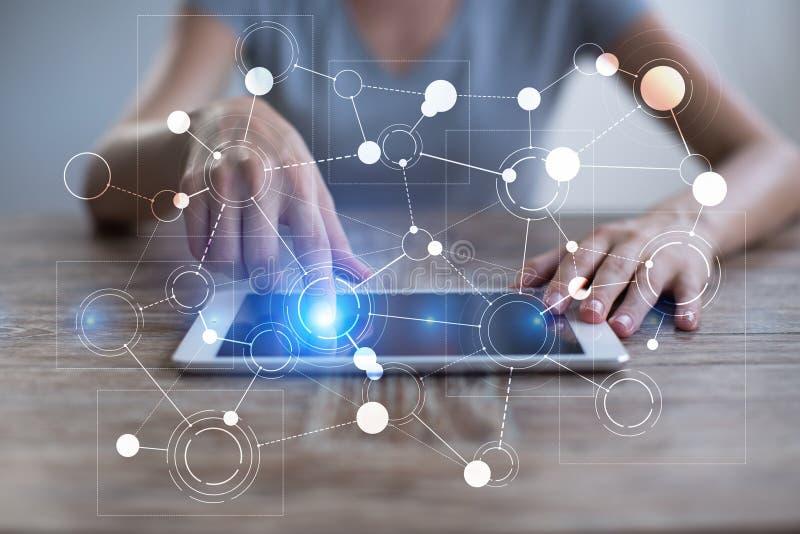 Malplaatje voor tekst, Virtuele het schermachtergrond met pictogrammen Zaken, Internet-technologie en voorzien van een netwerkcon stock illustratie