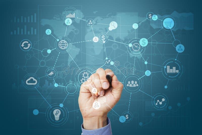 Malplaatje voor tekst, Virtuele het schermachtergrond met pictogrammen Zaken, Internet-technologie en voorzien van een netwerkcon royalty-vrije stock foto