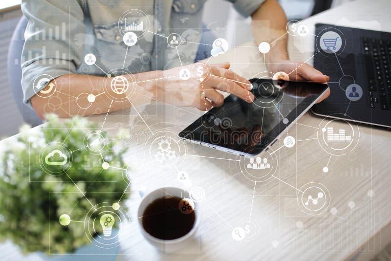 Malplaatje voor tekst, Virtuele het schermachtergrond met pictogrammen Zaken, Internet-technologie en voorzien van een netwerkcon stock afbeeldingen