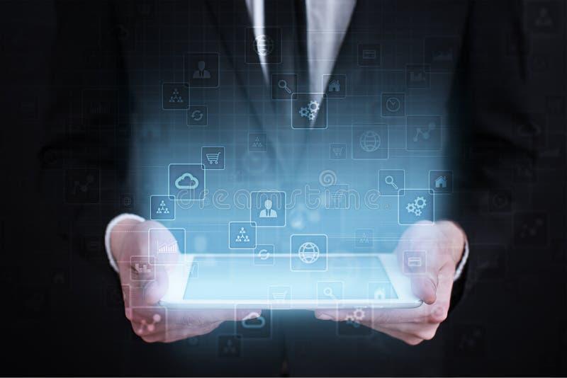 Malplaatje voor tekst, Virtuele het schermachtergrond Zaken, Internet-technologie en voorzien van een netwerkconcept stock afbeeldingen