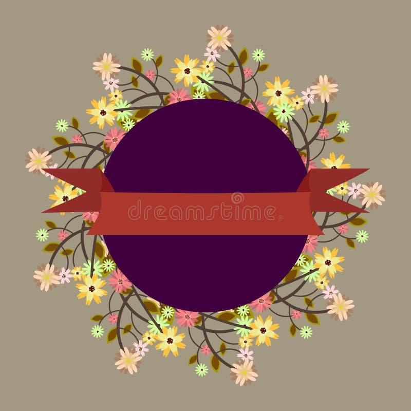 Malplaatje voor uitnodiging, embleem, prentbriefkaar met bloemenkader en Re royalty-vrije illustratie